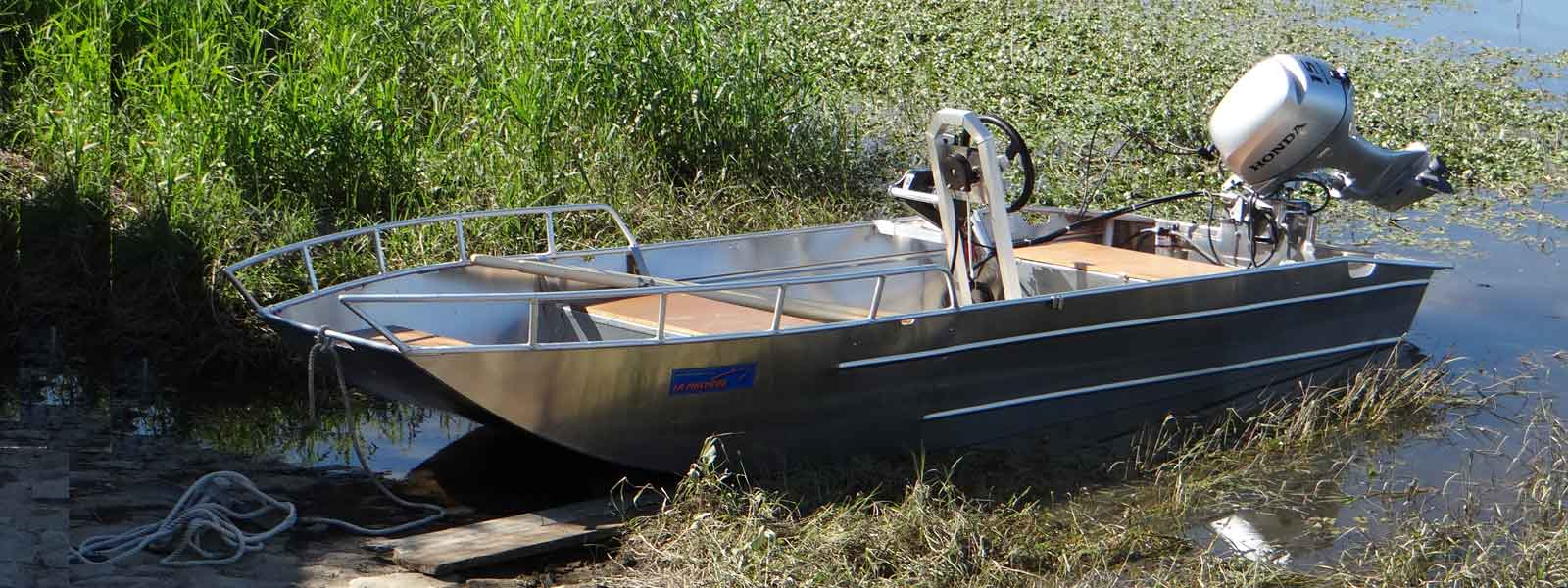 Barca leggera in alluminio saldato